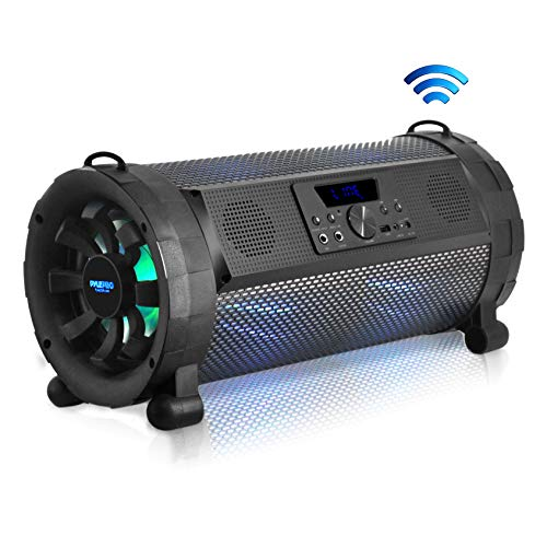 Pyle Bluetooth Boombox Street Blaster Stereo Speaker - Portable Wireless 300 Watt Power FM Radio / MP3 System w/ Remote, LED Lights & Rechargeable battery - PBMSPG190