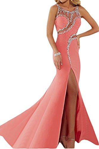 ivyd ressing Mujer luxurioes Ranura redondo Cuello piedras fiesta vestido fijo para vestido de noche Rosa