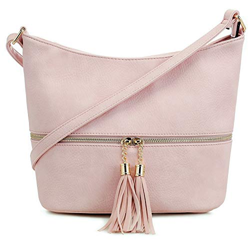 DELUXITY Medium Size Hobo Crossbody Bag with Tassel/Zipper Accent (Blush)