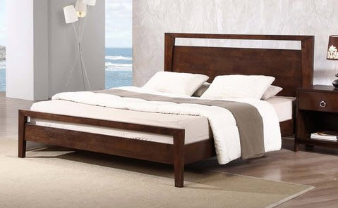 KOTA Modern Queen Size Solid Wood Platform Bed Frame - This beautiful, thick, study bed will be a fixture in your home for years to come Finish: Tobacco brown Materials: Rubberwood - bedroom-furniture, bedroom, bed-frames - 412QMJOl 5L -