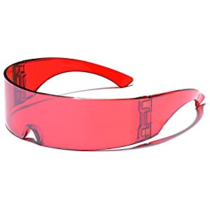 Futuristic Cyclops Robocop Shield Wrap Around Mirrored Sunglasses RED