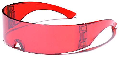 Futuristic Cyclops Robocop Shield Wrap Around Mirrored Sunglasses RED