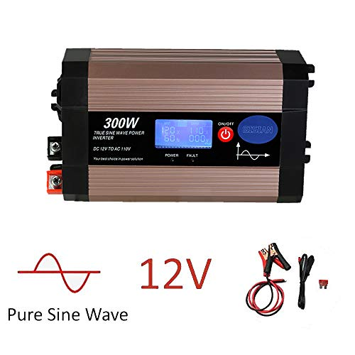 300W Pure Sine Wave Power Inverter with LCD Screen, 12V DC to 110V AC GISIAN Car Inverter with Dual USB Ports Car Charging Adapter