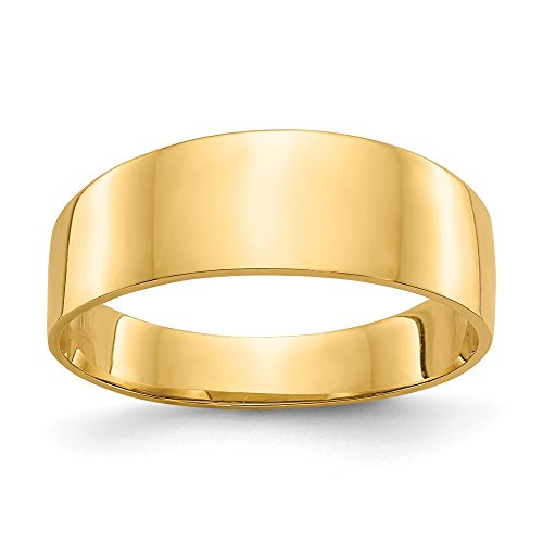 (JewelrySuperMartCollection 14k Yellow Gold 8mm Flat-top Tapered Cigar Band Ring (7mm Width) - Size 7)