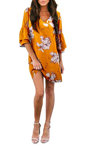 BELONGSCI Women's Dress Sweet & Cute V-Neck Bell Sleeve Shift Dress Mini Dress Yellow Floral