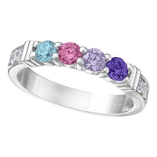 - NANA Shared Prong w/side stones Mothers Ring 1 to 6 Stones Silver- Platinum Plated - Size 7