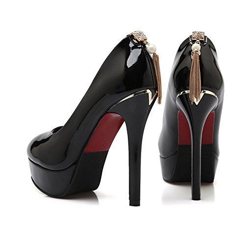 Chaussures Femme Tire Stylet Agoolar Pu Rond Unie L Couleur Cuir w8F8O