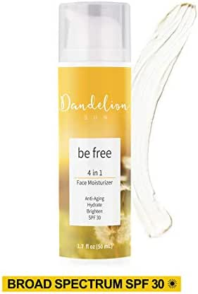 Dandelion Sun, Anti-Aging Face Moisturizer with Broad Spectrum SPF 30 and Facial Sunscreen, Hydrating, Moisturizing and Brightening, Antioxidant-Rich Complex with Vitamin C and E, Botanical Extract