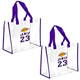 FOCO 2 Pack Los Angeles Lakers NBA Stadium Approved Clear Reusable Grocery Shopping Tote Bags - Lebron James #23