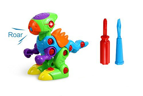 FMT Take-A-Part Take Apart Dinosaur Toy for Boys and Girls Toddlers and Kids with Lights and Sounds Include 2 Screwdrivers for Assembly Building Blocks Tools Play Set SG/_B0759GG976/_US