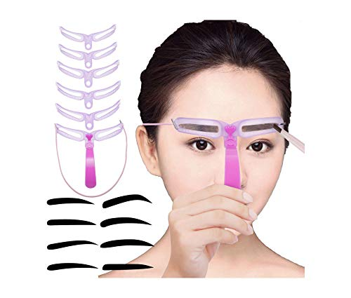 Eyebrow Stencil Shaping Template Reusable-8 Different Nature Eyebrow Stickers-Drawing Shapes Grooming Kit DIY Eyebrows Guide Tool Set Ebrow Ruler for Women Men Girls