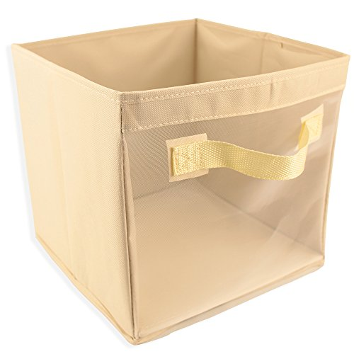 EasyView Storage Cube with Handles | 100% Woven Oxford Nylon Bin with Mesh See Thru Side | 10.5 x 10.5 x 10 Inches, Foldable, (Beige)