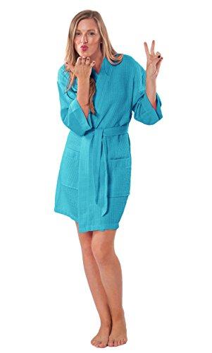 - Lightweight Knee Length Waffle Kimono Bridesmaids Spa Robe (XXL, Turquoise)