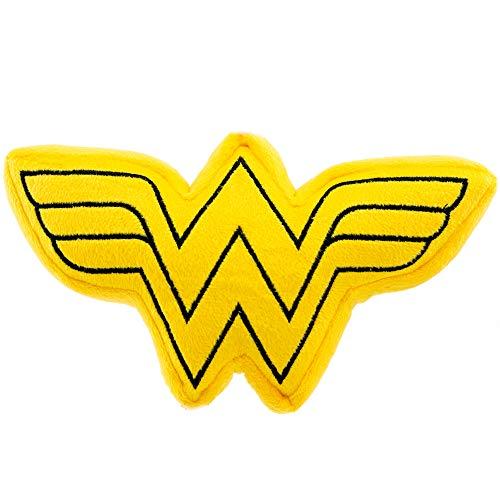 Buckle Down Dog Toy Plush Wonder Woman Logo Icon Yellow Black ()
