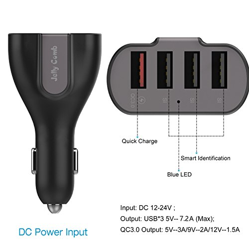 Car Charger Jelly Comb 54W Quick Charge 3.0 4 Port Rapid USB Car Charger Adapter for Galaxy S8 / Plus, S7, S6, LG V10, Google Nexus 6, iPhone X / 8 / 7 / 6s / Plus / iPad / Pro / Mini and more. by Jellas (Image #2)