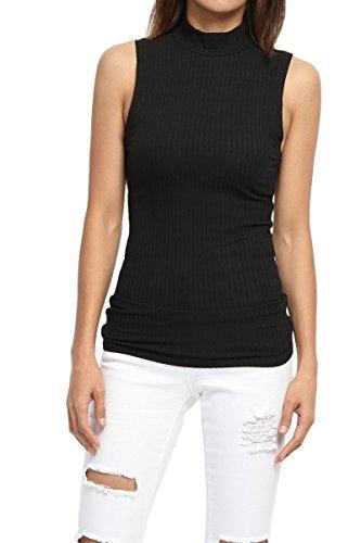 TheMogan Women's Mock Neck Lightweight Ribbed Knit Sweater Tank Top Black S