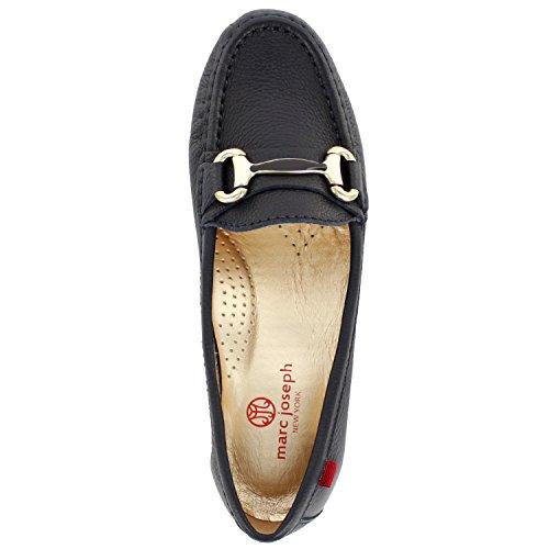 Frauen Echtes Leder Made In Brasilien Grand Street Schnalle Loafer Marc Joseph NY Mode Schuhe Navy Körnig