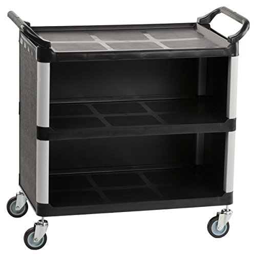 3-Shelf Utility Cart with Swivel Wheels, Enclosed Design with 2 Side Handles, Plastic and Aluminum (Black) by Displays2go