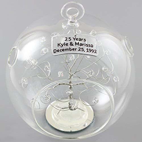 Amazon.com: 25th Anniversary Ornament Silver Clear ...