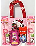 Bundle – 5 Items: Hello Kitty Toothbrush Travel Kit, Bubblegum Mouthwash Rinse, Tote and Colgate Kids Toothpaste