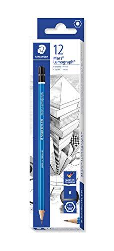 Staedtler Mars Lumograph B Graphite Art Drawing Pencil, Very Hard, Break-Resistant Bonded Lead, 12 Pack, 100-B