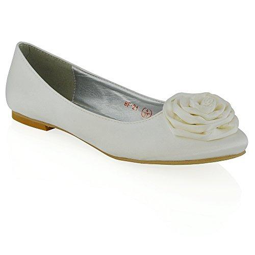 ESSEX GLAMFlower Detail Pumps - Ballet mujer Blanco satinado