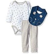 Rene Rofe Baby Boys' 3 Piece Turn Me Round Pant Set With Bib and Bodysuit, Blue Bear, 6-9 Months