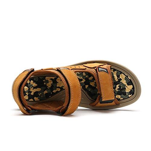 Sandali dimensioni brown morbidi Marrone aperte all'aperto da ZJM vera sportivi Yellow uomo scarpe Sandalo in 40 pelle estate antiscivolo Colore IqZZaXHw