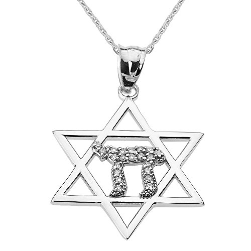 White Gold Diamond Chai Pendant (Solid 10k White Gold Beautiful Star of David with Chai Diamond Necklace,)