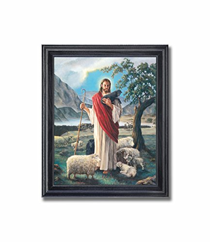 Shepherd Lamb - Jesus Christ Shepherd with Lambs Religious Wall Picture Framed Art Print
