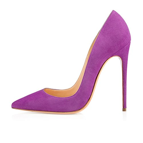 Talon Escarpins Haut Violet 12cm Femmes Bout Pointu Aiguilles Soireelady Robe Talons tSY6qxw
