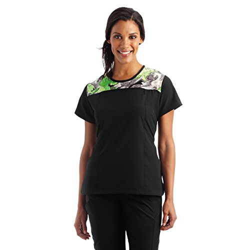 Jockey Women's Performance RX Kinetic 2 Pocket Print Top- Kinetic Grey- 2X-Large (Shirttail Scrub)