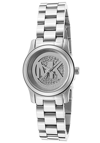 Michael Kors Petite Runway Silver Pave Dial Stainless Steel Ladies Watch MK3303