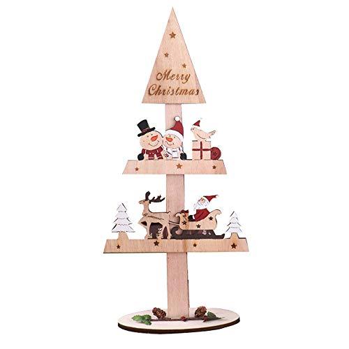 (Vovomay Wooden Tabletop Christmas Home Decor Gifts Creative Painted Christmas Wooden Tabletop Decoration (Khaki))