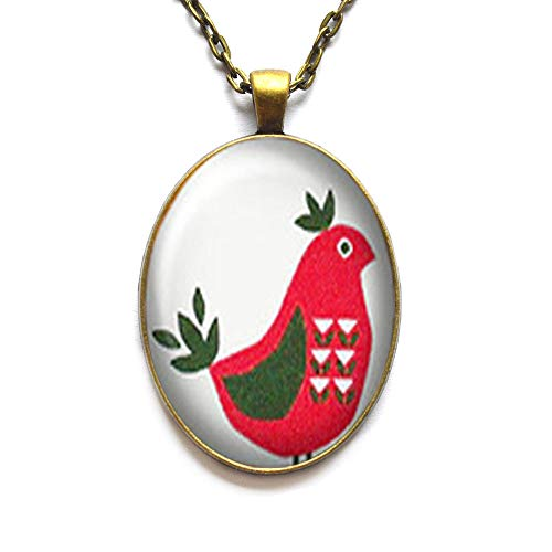 Tribe Silver 30mm - Cute Chicken, red Hen, Tribe Turkey, Pattern on The Body, Silver Necklace Jewelry, Necklace,Art Photo Chicken Necklace Best Gift for Valentine's Day,RN301