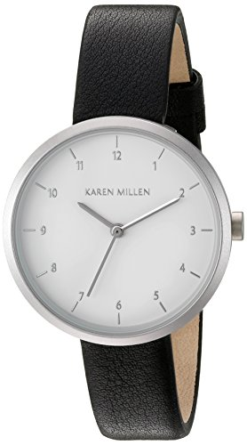 Karen Millen Women's Quartz Brass-Plated-Stainless-Steel and Leather Dress Watch, Color:Black (Model: - Millen Shop Karen