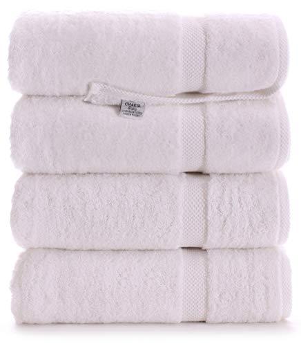 Luxury Premium Turkish Ring-Spun Cotton 4-Piece Bath Towels (White)