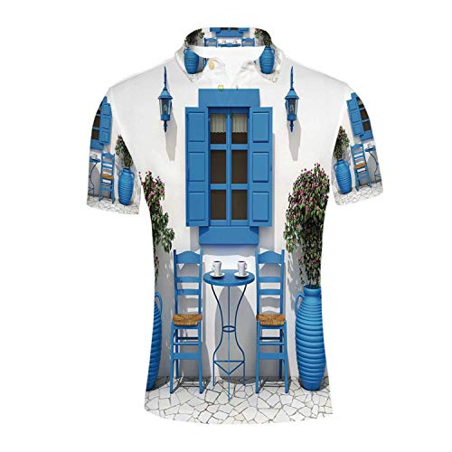 Travel Decor Durable Polo Shirt,Traditional Greek Design Holiday Summer House Flowers Window Image for -