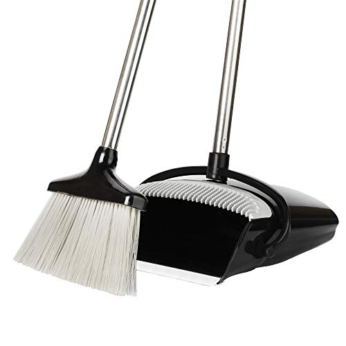 (Extendable Broom and Dustpan Set, Durable & Light Weight Broom and Dust pan Combo with Long Handle, Ideal for Kitchen, Home and Lobby Floor Use by QJQBMAI)