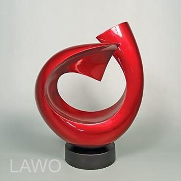 LAWO 102373 Laque Design Sculpture LINUS Bordeaux Rouge Moderne Deco Objet  Designer Exclusif Bois Sculpture