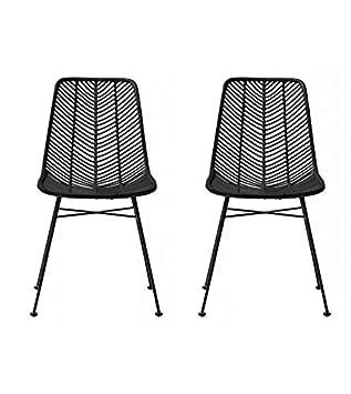 Chaise La Design En Noir Lena 2 Rotin Bloomingville Lot De Chaises hCsdxBotQr