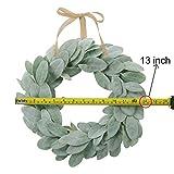 SHACOS Artificial Lambs Ear Wreath 13 inch