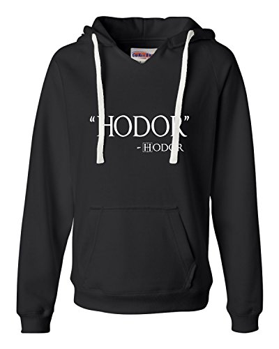 Medium Black Womens Hodor Hodor Quote Deluxe Soft Hoodie