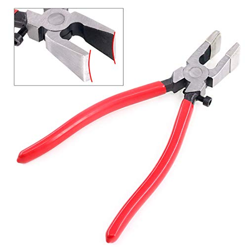 Swpeet Heavy Duty Key Fob Pliers Tool, Metal Glass Running Pliers with Curved Jaws, Studio Running Pliers Attach Rubber Tips Perfect for Key Fob Hardware Install and Stained Glass Work
