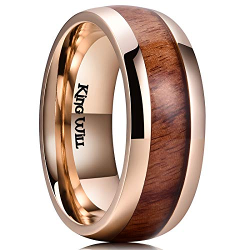 - King Will Nature Koa Wood Inlay Titanium Wedding Ring 8mm Gold Plated Dome Style High Polished Comfort Fit 11