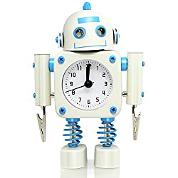 Betus Non-ticking Robot Alarm Clock Stainless Metal - Wake-up Clock with Flashing Eye Lights and Hand Clip - 4.5 x 6.5 x 2 (White)