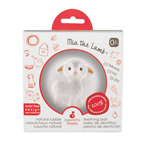 Easy to Clean Mia the Lamb BPA Free PVC Free SEALED HOLE Hole Free Teething Ball for Baby Perfect Bouncer Pure Natural Rubber Teether Sensory Ball Toy Textured for Teething and Sensory Play