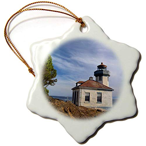 3dRose Danita Delimont - Washington - USA, Washington State, San Juan Island, Lime Kiln Point Lighthouse. - 3 inch Snowflake Porcelain Ornament (ORN_315158_1)