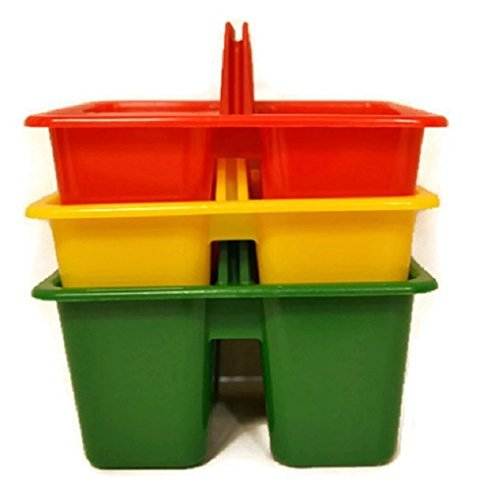 Kids Arts & Crafts Small Plastic Caddies, 3 Compartments, 3-ct Set by Greenbrier
