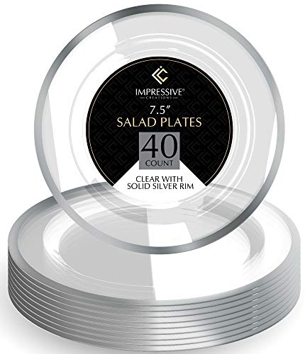Premium Heavy-weight Round Plastic Plates - Clear Salad Plates Silver Rim - Superior Plastic - Pack of 40 - 7.5 Inches Plates - Perfect for a Party